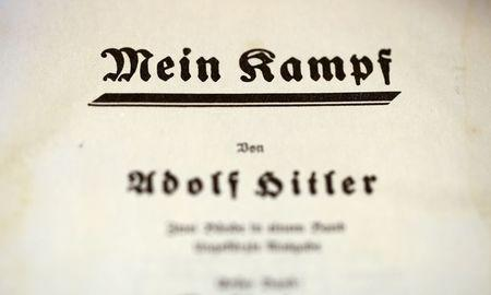 "The title page of Adolf Hitler's book ""Mein Kampf"" (My Struggle) from 1940 is pictured in Berlin, Germany, in this picture taken December 16, 2015.  REUTERS/Fabrizio Bensch"