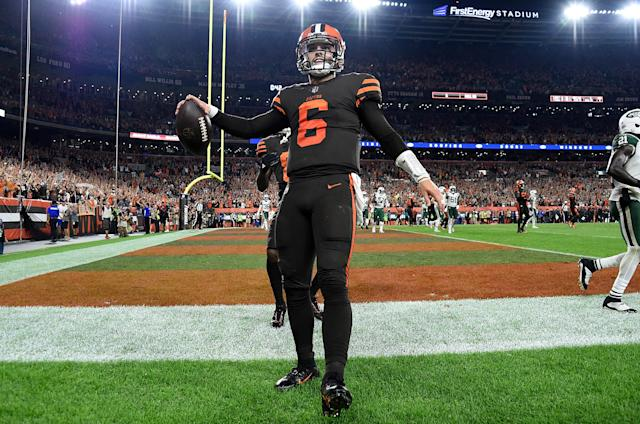 Baker Mayfield led the Cleveland Browns to their first win in nearly two years, and fans in Ohio seem to have forgiven him for the infamous flag plant at Ohio State last season. (Getty Images)