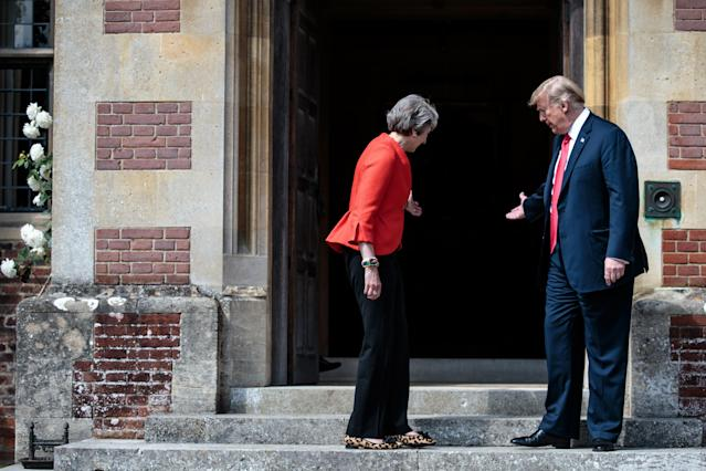 <p>Prime Minister Theresa May holds bi-lateral talks with President Donald Trump at Chequers on July 13, 2018 in Aylesbury, England. (Photo: Jack Taylor – WPA Pool /Getty Images) </p>