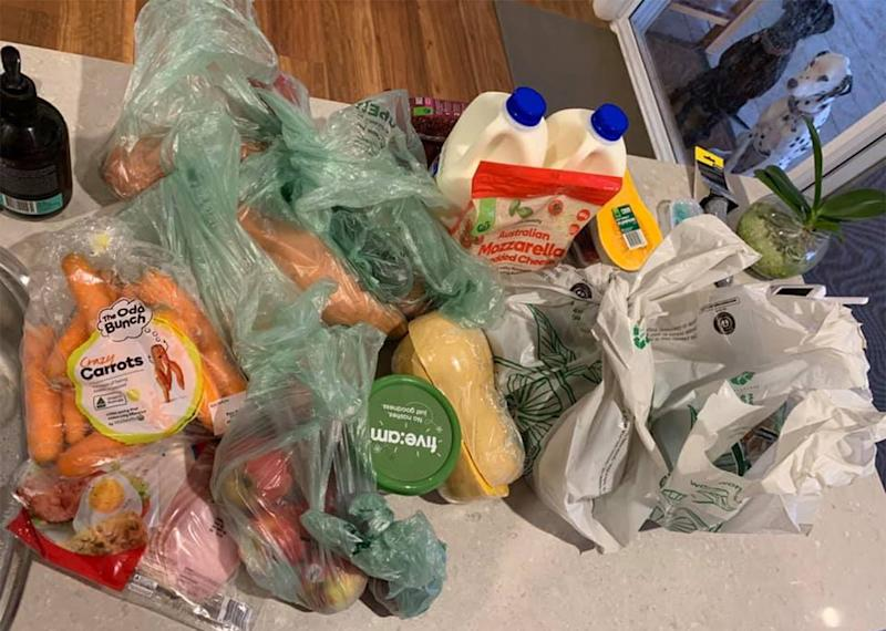 Pictured is the Woolworths Crate to Bench order Tamworth NSW mum Bon Brennan claims to have received despite paying extra for the bag-free service.