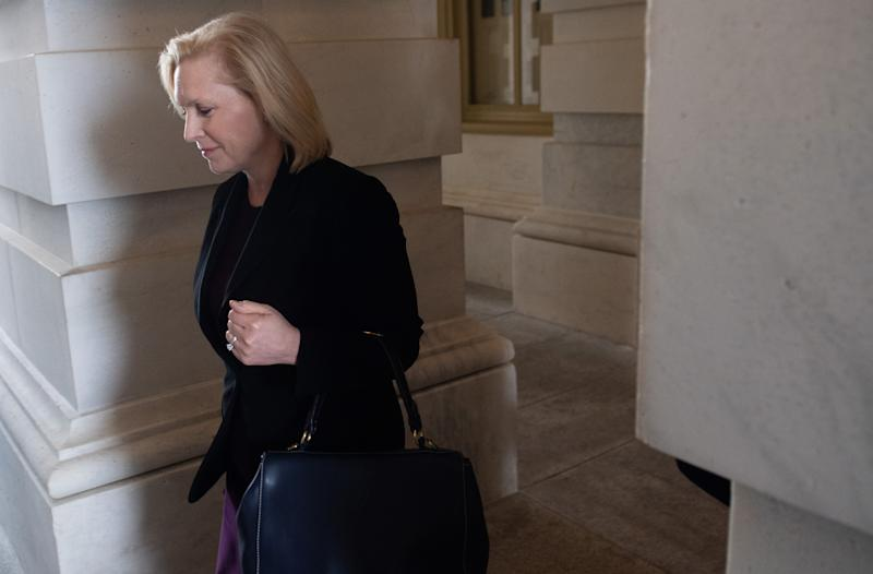 US Senator Kirsten Gillibrand, Democrat of New York, leaves after a vote related to a bill in response to COVID-19, the novel coronavirus, at the US Capitol in Washington, DC, March 18, 2020. - The US Senate easily passed a $100 billion emergency package on March 18 to help American workers hit hard financially by the coronavirus crisis. (Photo by SAUL LOEB / AFP) (Photo by SAUL LOEB/AFP via Getty Images)