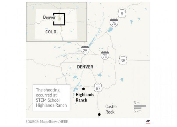 PHOTO: STEM School Highlands Ranch and Highlands Ranch, Colo. are located on a map released by the Associated Press after a shooting at the school. (AP)
