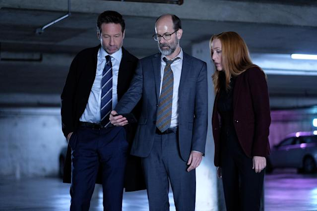 David Duchovny, Brian Huskey, and Gillian Anderson in 'The Lost Art of Forehead Sweat' (Photo: Shane Harvey/Fox)