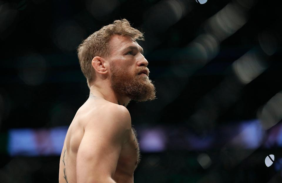 Conor McGregor is shown before fighting Khabib Nurmagomedov in a lightweight title mixed martial arts bout at UFC 229 in Las Vegas, Saturday, Oct. 6, 2018. (AP Photo/John Locher)