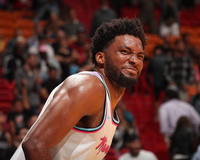 "Go ahead and mean mug, <a class=""link rapid-noclick-resp"" href=""/nba/players/5470/"" data-ylk=""slk:Justise Winslow"">Justise Winslow</a>. You earned it. (Image via @MiamiHeat)"