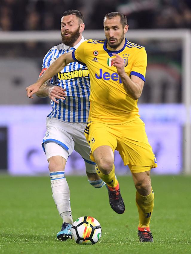 Soccer Football - Serie A - SPAL vs Juventus - Paolo Mazza, Ferrara, Italy - March 17, 2018 Juventus' Giorgio Chiellini in action with Spal's Mirco Antenucci REUTERS/Alberto Lingria