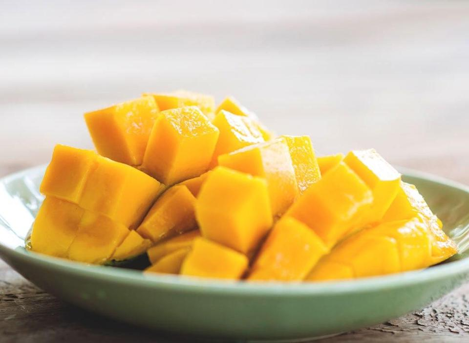 mango chunks on a plate