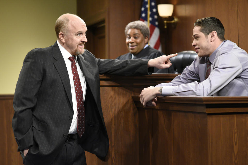 Louis C.K. with Pete Davidson, as well as Kenan Thompson, during a sketch from C.K.'s last turn as host on April 8, 2017. (Photo: Will Heath/NBC/NBCU Photo Bank)