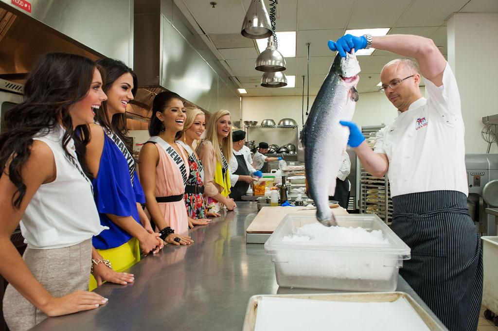 Miss Rhode Island USA 2013, Brittany Stenovitch; Miss Maryland USA 2013, Kasey Staniszewski; Miss New Hampshire USA 2013, Amber Faucher; Miss Idaho USA 2013, Marissa Wickland; and Miss Wyoming USA 2013, Courtney Gifford;  meet chef Jeremy Berlin during  the Cooking Demo and Lunch event at Gordon Ramsay Pub & Grill at the Caesars Palce, in Las Vegas, Nevada on Tuesday, June 4, 2013.