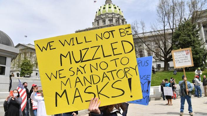 Anti-maskers at a rally in April to reopen Pennsylvania
