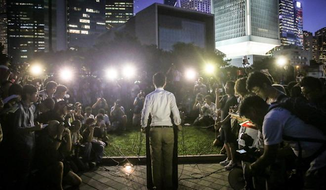 Andy Chan, former convenor of Hong Kong National Party, addresses supporters after his disqualification. Photo: Sam Tsang