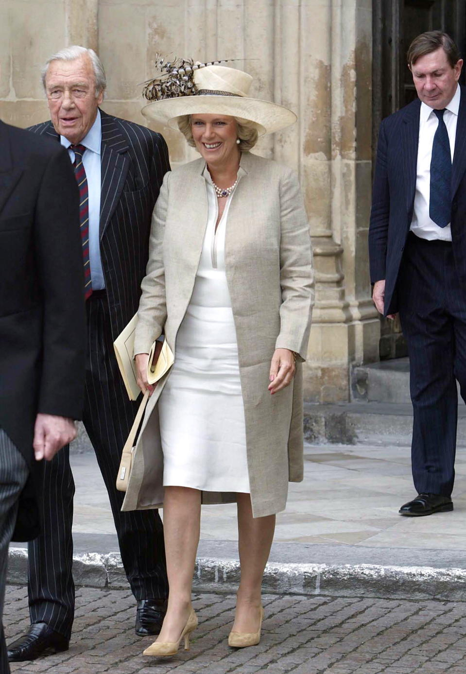 LONDON, UNITED KINGDOM - JUNE 02:  Camilla Parker-bowles With Her Father, Major Bruce Shand,  Attending A Special Service To Commemorate The 50th Anniversary Of The Coronation At Westminster Abbey.at Right Behind Them Is The Lord Chancellor,lord Irvine.  (Photo by Tim Graham Picture Library/Getty Images)