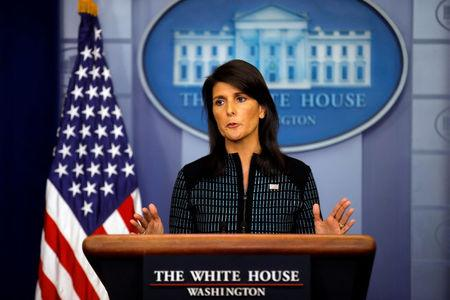 U.S. Ambassador to the UN, Nikki Haley attends the daily briefing at the White House in Washington, U.S., September 15, 2017. REUTERS/Carlos Barria