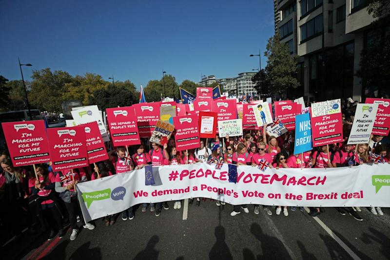Young voters led the march as it set off on Park Lane (PA)