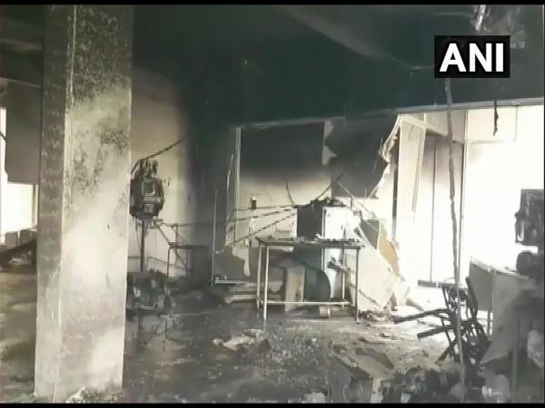 Visual from COVID-19 care centre in Bharuch where a fire broke out on Friday night. [Photo/ANI]