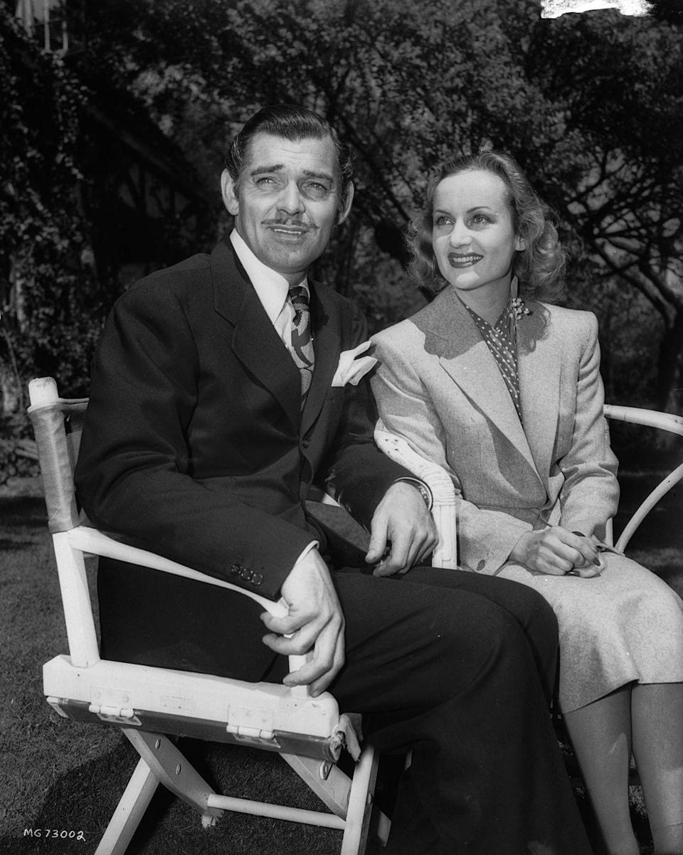 <p>The Hollywood heavy hitters met on the set of <em>No Man of Her Own </em>in 1933 and managed to evade the press on their wedding day by eloping in 1939. Here, they pose after announcing their marriage to the public. The couple was married until Lombard's tragic death in a plane crash in 1942.</p>