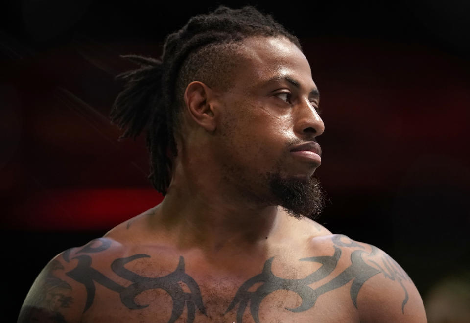 LAS VEGAS, NEVADA - DECEMBER 19: Greg Hardy prepares to fight Marcin Tybura in a heavyweight fight during the UFC Fight Night event at UFC APEX on December 19, 2020 in Las Vegas, Nevada. (Photo by Cooper Neill/Zuffa LLC)