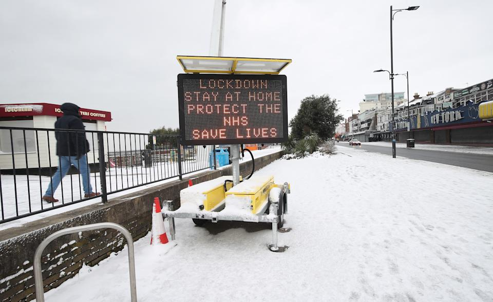 Snow covers the seafront at Southend-on-Sea in Essex, after the Met Office issued a severe amber snow warnings for London and south-east England, where heavy snow is likely to cause long delays on roads and with rail and air travel. Picture date: Monday February 8, 2021. (Photo by Yui Mok/PA Images via Getty Images)