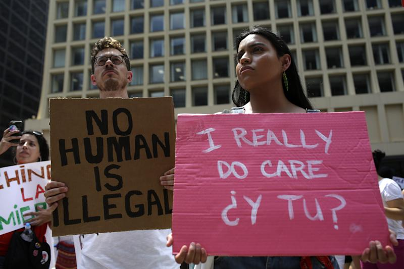CHICAGO, IL - JUNE 30: Demonstrators protest against Immigration and Customs Enforcement (ICE) and the Trump administration's immigration policies at Daley Plaza, June 30, 2018 in Chicago, Illinois. Thousands of people held signs and yelled slogans to show their support for immigrant families who have been separated by ICE at detention centers along the U.S. and Mexico border. (Photo by Joshua Lott/Getty Images)