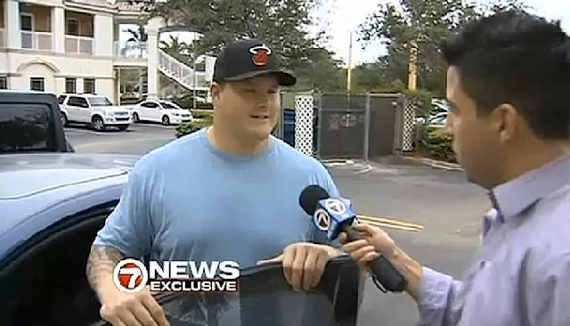 In this Tuesday, Nov. 5, 2013 image made from video made by WSVN-TV in Miami/Fort Lauderdale, Miami Dolphin player Richie Incognito is interviewed near his home. The troubled, troubling relationship between two Miami Dolphin linemen Jonathan Martin and Richie Incognito took an ominous turn Monday, Nov. 4, 2013 with fresh revelations: Incognito sent text messages to his teammate that were racist and threatening, two people familiar with the situation said.(AP Photo/WSVN-TV)
