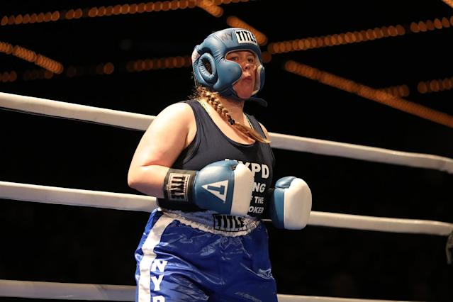 <p>Katie Walsh awaits the start of the female grudge match against Stacy Weinstein at the NYPD Boxing Championships at the Theater at Madison Square Garden on June 8, 2017. (Gordon Donovan/Yahoo News) </p>