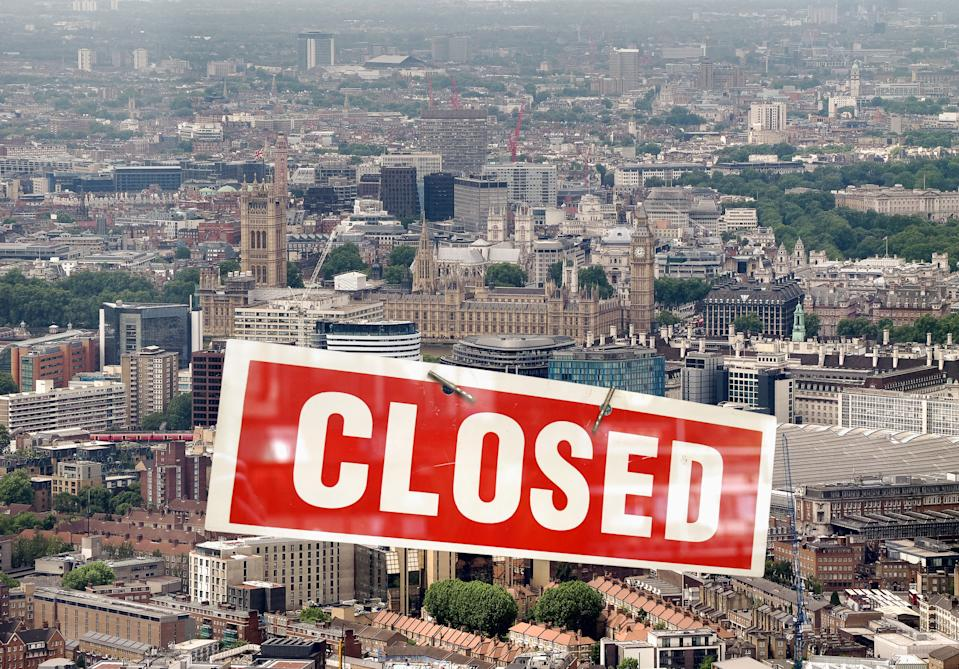 Aerial view of London with closed sign