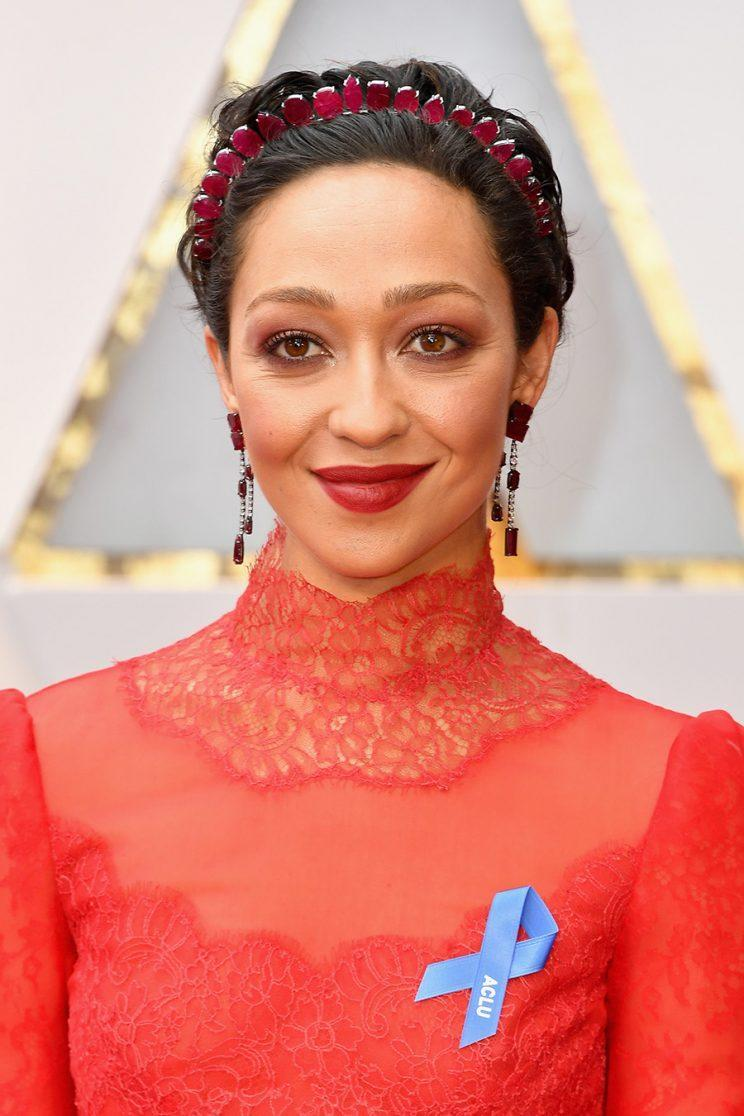 Ruth Negga wears a blue ribbon for the ACLU on the red carpet for the 89th Annual Academy Awards. (Photo: Steve Granitz/WireImage)
