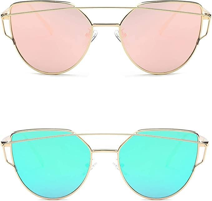 <p>Get colorful with these <span>SOJOS Cat Eye Mirrored Pink and Blue/Green Lens Sunglasses (Pack of 2)</span> ($17)!</p>