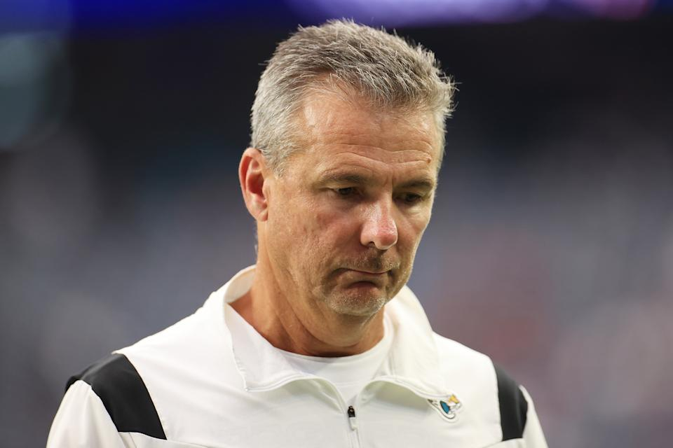 HOUSTON, TEXAS - SEPTEMBER 12: Head coach Urban Meyer of the Jacksonville Jaguars reacts after losing to the Houston Texans 37-21 at NRG Stadium on September 12, 2021 in Houston, Texas. (Photo by Carmen Mandato/Getty Images)
