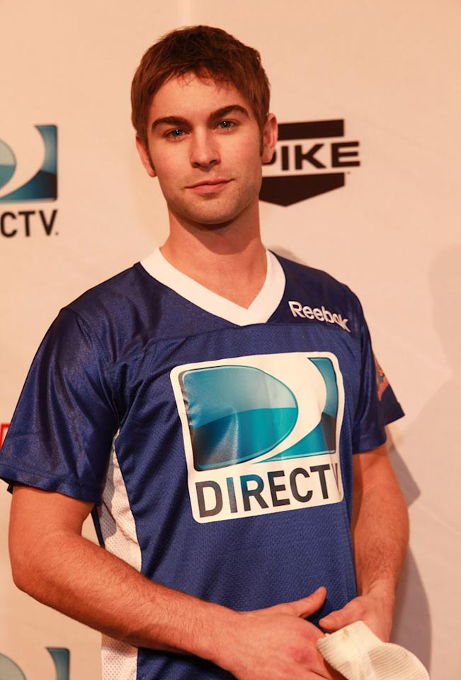 """Gossip Girl"" star Chase Crawford arrives at the DirecTV Celebrity Beach Bowl in Indianapolis."