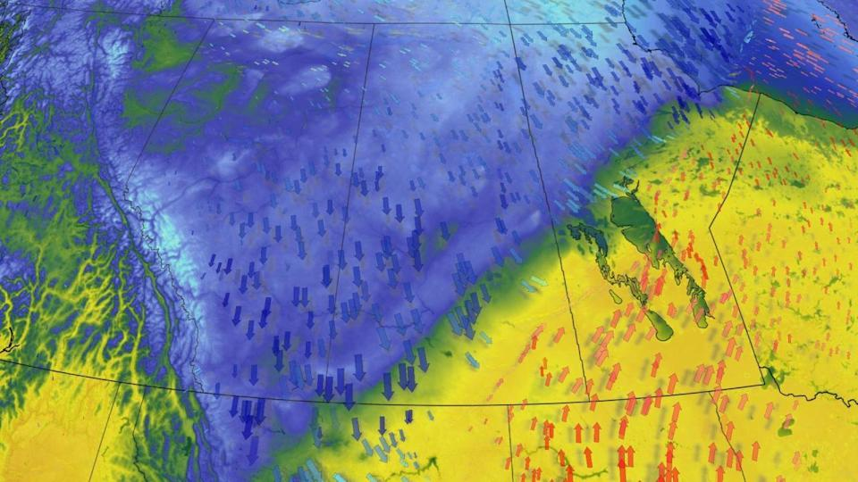 Frigid air descends back over the Prairies, bursts of late April snow