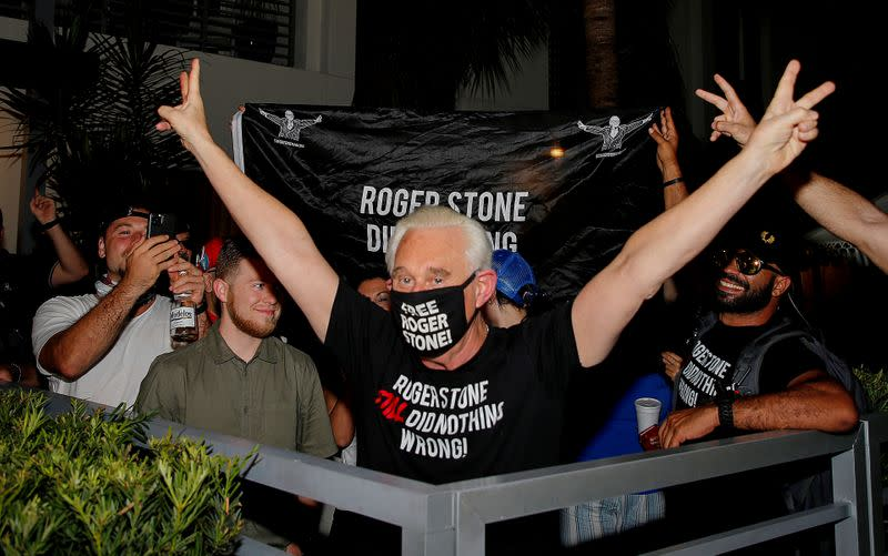 FILE PHOTO: Roger Stone reacts after Trump commuted his federal prison sentence in Fort Lauderdale