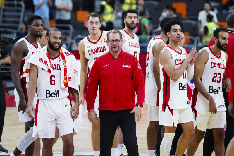 DONGGUAN, CHINA - SEPTEMBER 05: Players of Canada celebrate victory during FIBA World Cup 2019 Group H match between Canada and Senegal at Dongguan Basketball Centre on September 5, 2019 in Dongguan, Guangdong Province of China. (Photo by VCG/VCG via Getty Images)