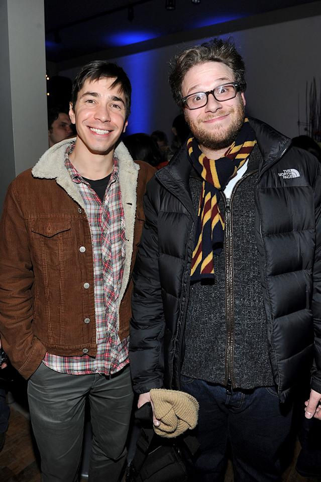 Justin Long and Seth Rogen are seen out and about during the 2012 Sundance Film Festival in Park City, Utah on January 22, 2012.