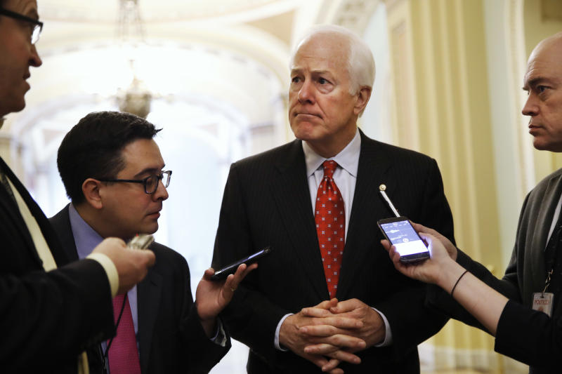 FILE - In this May 10, 2017 file photo, Senate Majority Whip John Cornyn of Texas talks with reporters on Capitol Hill in Washington. President Trump and his GOP allies on Capitol Hill have made it through nearly half their first year in power without a single major legislative achievement. If that's going to change, it will have to start soon, a reality that Republican lawmakers will confront when they return to the Capitol on Monday from a weeklong break.  (AP Photo/Jacquelyn Martin, File)