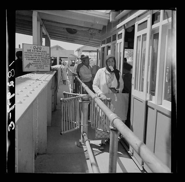 Mexicans entering the United States via the United States immigration station at El Paso, Texas.