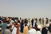 People have been gathering at the the border town of Chaman in Pakistan