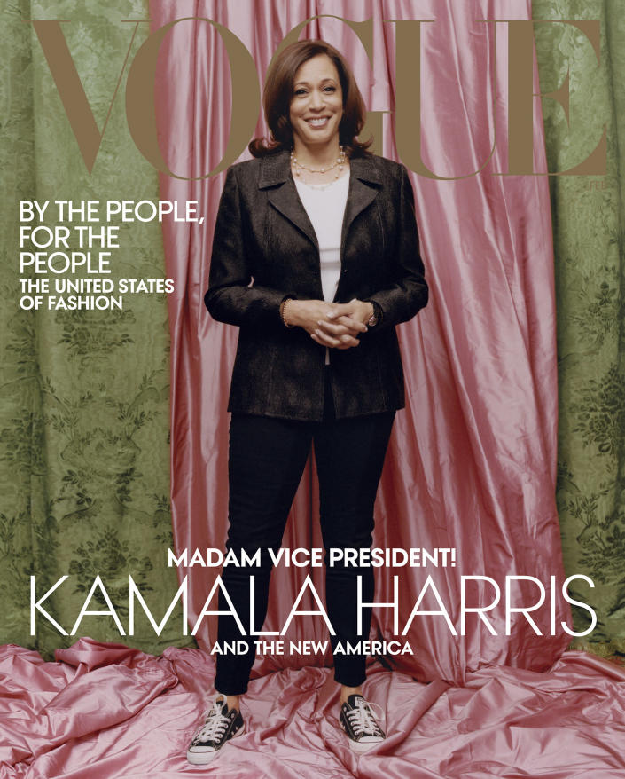 Vice President-elect Kamala Harris on the cover of Vogue's February 2021 print issue. (Tyler Mitchell / Vogue via AP)