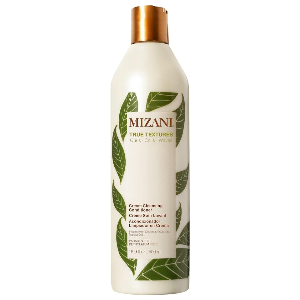 """<p><a href=""""https://www.popsugar.com/buy/Mizani-True-Textures-Cream-Cleansing-Conditioner-580827?p_name=Mizani%20True%20Textures%20Cream%20Cleansing%20Conditioner&retailer=sephora.com&pid=580827&price=26&evar1=bella%3Auk&evar9=47540523&evar98=https%3A%2F%2Fwww.popsugar.com%2Fbeauty%2Fphoto-gallery%2F47540523%2Fimage%2F47540528%2FMizani-True-Textures-Cream-Cleansing-Conditioner&list1=hair%2Csephora%2Cbeauty%20shopping&prop13=api&pdata=1"""" class=""""link rapid-noclick-resp"""" rel=""""nofollow noopener"""" target=""""_blank"""" data-ylk=""""slk:Mizani True Textures Cream Cleansing Conditioner"""">Mizani True Textures Cream Cleansing Conditioner</a> ($26) is a <a href=""""https://www.popsugar.com/beauty/What-Poo-35759454"""" class=""""link rapid-noclick-resp"""" rel=""""nofollow noopener"""" target=""""_blank"""" data-ylk=""""slk:low-poo conditioner"""">low-poo conditioner</a>, meaning it's a conditioner that <em>also</em> cleanses - aka co-washes - in lieu of a traditional shampoo. Some shampoos can dry out relaxed hair, but this product's very moisturizing and also frizz-fighting, thanks to the combination of coconut, marula, and olive oils inside.</p>"""