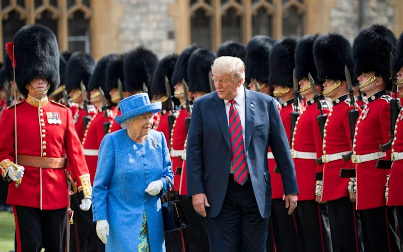 Her Majesty The Queen and President Donald Trump inspect the Guard of Honour at Windsor Castle