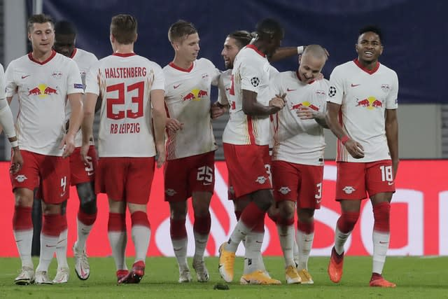 RB Leipzig's Angelino (second) from right celebrates sealing a 2-0 win against Istanbul Basaksehir