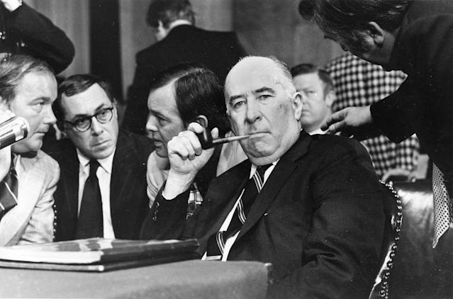 <p>Former Attorney General John N. Mitchell listens to a question during his appearance before the Senate Watergate Committee in Washington, D.C., Tuesday, July 11, 1973. (Photo: AP) </p>