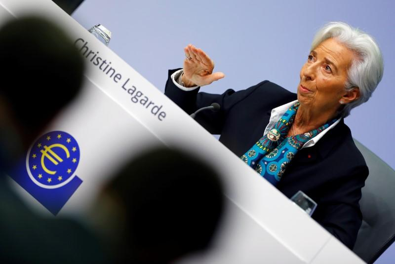 European Central Bank hold a news conference in Frankfurt