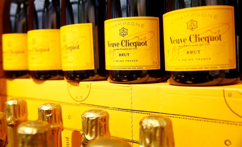 FILE PHOTO: Bottles of French Veuve Clicquot champagne are offered at a supermarket of Swiss retail group Coop in Zumikon