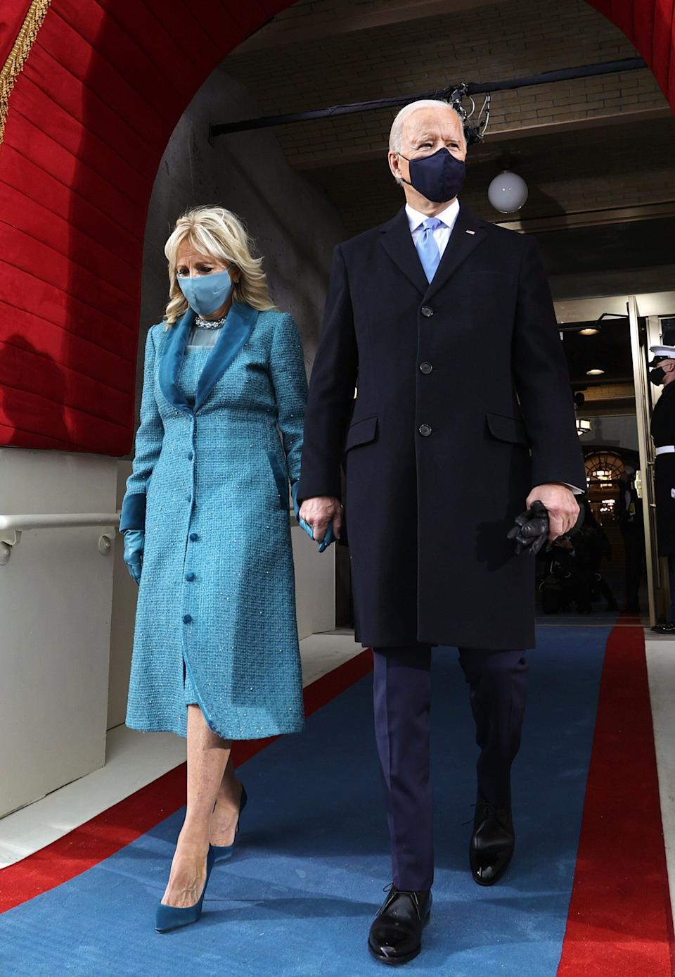 President Joe Biden and incoming first lady Jill Biden arrive for his inauguration as the 46th President at the Capitol on Wednesday. (Photo: JONATHAN ERNST via Getty Images)