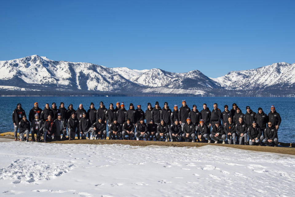 <p>The Philadelphia Flyers pose for their team picture near Lake Tahoe before playing against the Boston Bruins in the 2021 NHL Outdoors Sunday presented by Honda on February 21, 2021 in Stateline, Nevada. (Photo by Brian Babineau/NHLI via Getty Images)</p>