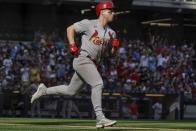 St. Louis Cardinals' Tyler O'Neill rounds the bases after hitting a two-run home run during the seventh inning of a baseball game against the Milwaukee Brewers Sunday, Sept. 5, 2021, in Milwaukee. (AP Photo/Morry Gash)