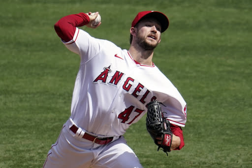 Los Angeles Angels starting pitcher Griffin Canning throws to the Arizona Diamondbacks during the first inning of a baseball game, Thursday, Sept. 17, 2020, in Anaheim, Calif. (AP Photo/Marcio Jose Sanchez)