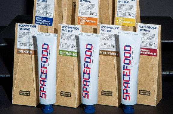 """""""Authentic cosmonaut food"""" packaged in toothpaste-like tubes is now on sale at Moscow's All-Russian Exhibition Center."""