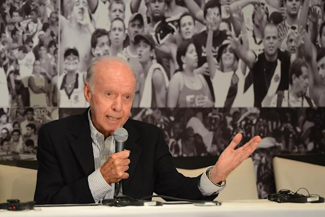 RIO DE JANEIRO, BRAZIL - DECEMBER 04: Former Brazil player and coach Mario Zagallo talks to the media before a viewing of the Maracana Stadium, venue for the FIFA 2014 World Cup Final on December 4, 2012 in Rio de Janeiro, Brazil. (Photo by Shaun Botterill/Getty Images)